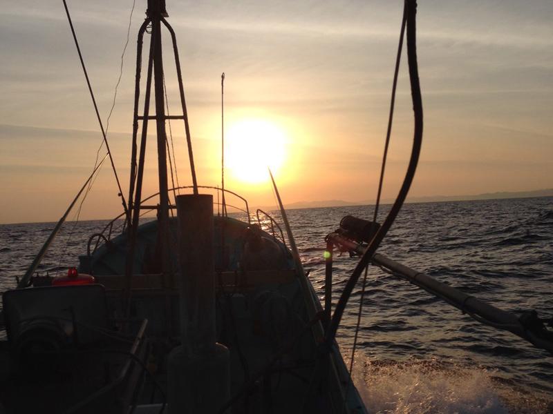 早朝の出漁風景 朝日に向かって船を進ませる