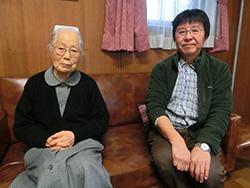 かにた婦人の村名誉村長天羽道子さん(左)と現施設長五十嵐逸美さん(右)