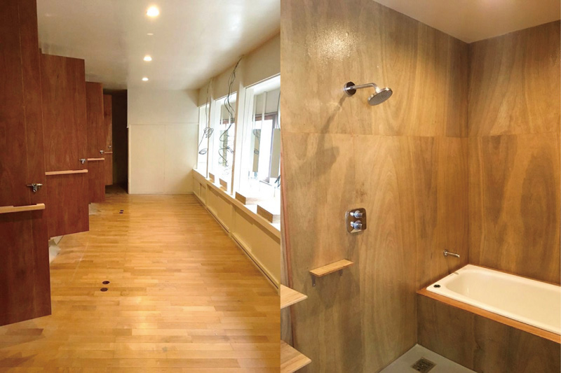 クリア塗装で木目を生かしたシャワールーム