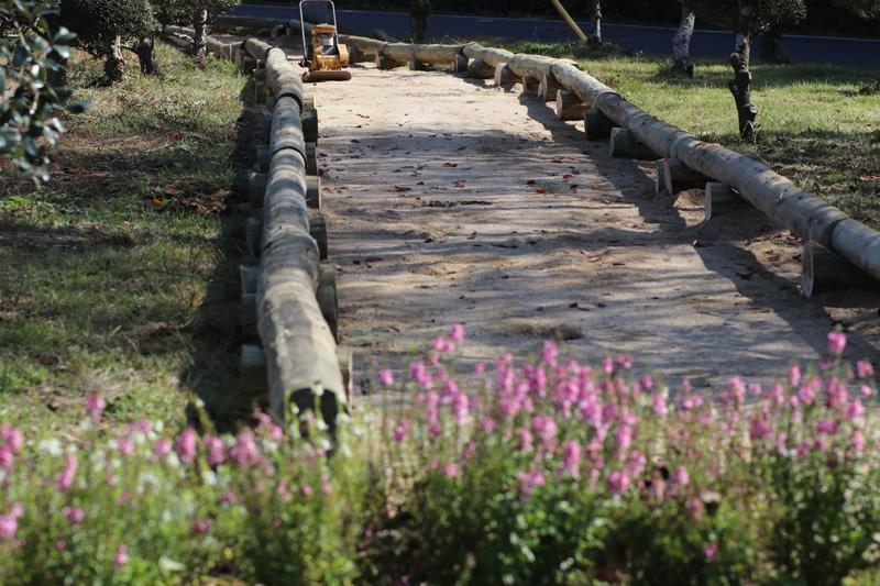 夏の間は、敷地内に遊歩道を作る作業を行いました。アメリカの環境保全活動で実践してきた雨水の流れ方などにも配慮したトレイル作りの学びも生かされています。