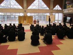 地元千倉中学校で庖丁式の学習体験