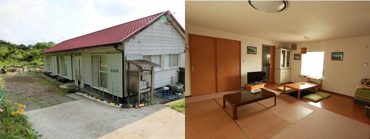 空き施設を改修したゲストハウスの外観と内観 キッチン設備やアメニティグッズが揃い、外でBBQを楽しむこともできる