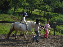 小学校低学年からポニーの上で乗馬体験できる