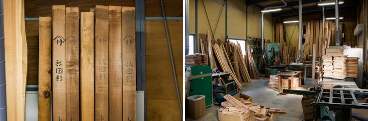 左:角材に製材してあった天然秋田杉を見つけて曲げわっぱ用に買い求めた、右:将来の入手難に備えて材料は多めにストックしてある