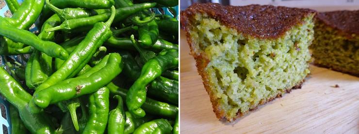 梼原で採れたあまとうがらし。カップケーキの断面にはあまとうがらしのキレイな緑色が。