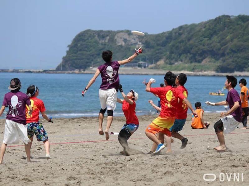 2018年4月に岩井海岸で開催された「南房総ビーチアルティメットオープン2018」の様子