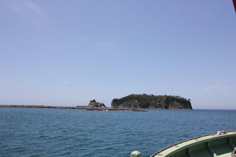 浮島に向かう船の上。島の手前に数多くの洋上生簀が見えてきた