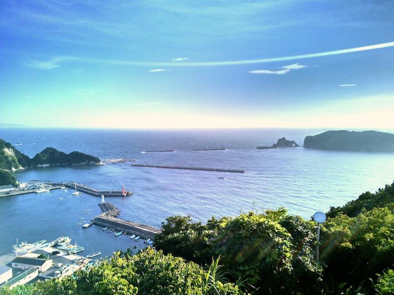 勝山漁協裏手にある大黒山山頂展望台より 右手に見えるのが浮島